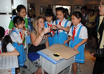 MSU global educator teaching in classroom.