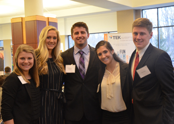 Students gathered during the yearly Sales Pitch Competition