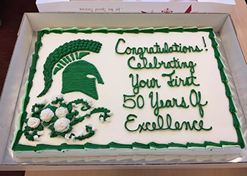 A cake to celebrate the 50th anniversary of James Madison College