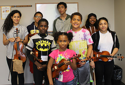 A group of students at the Detroit Community Music School