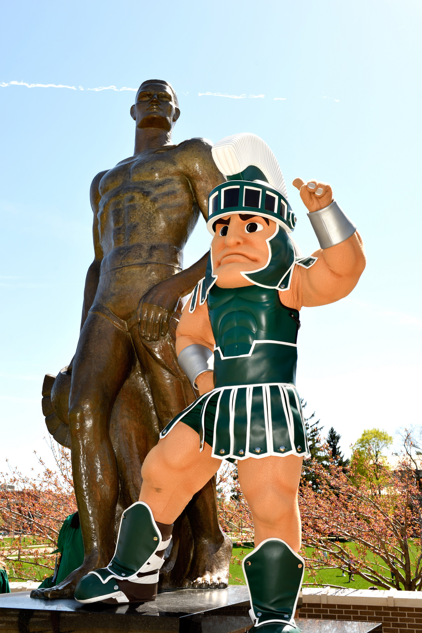 Sparty with the Sparty Statue