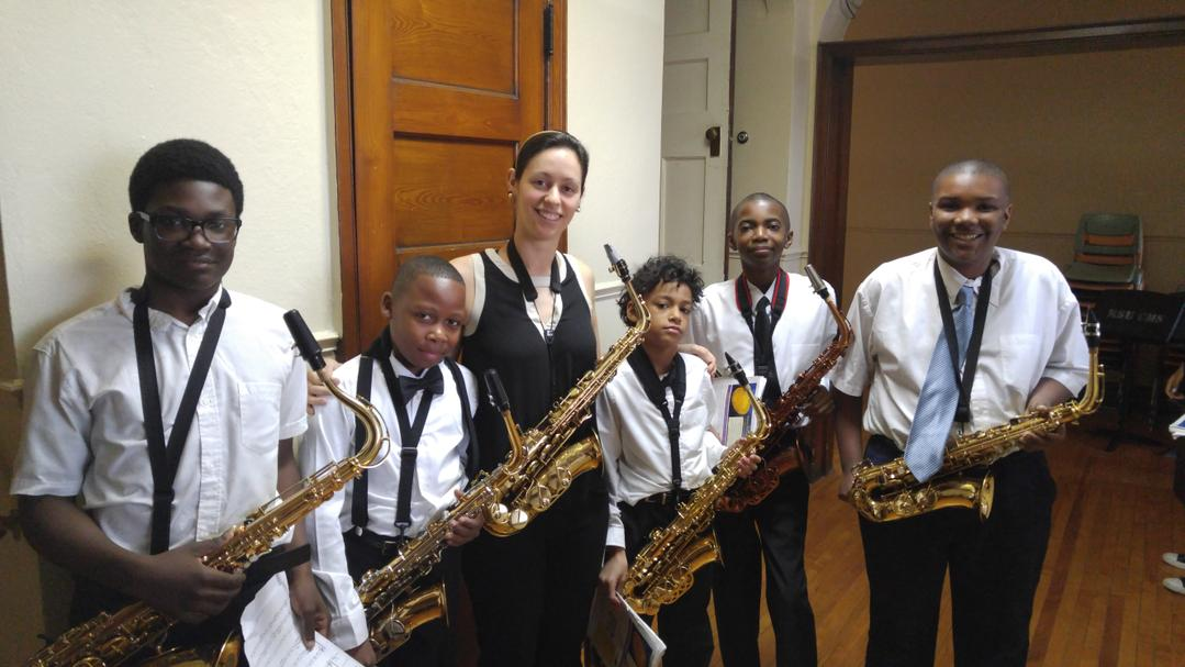 Maria and her saxophone students