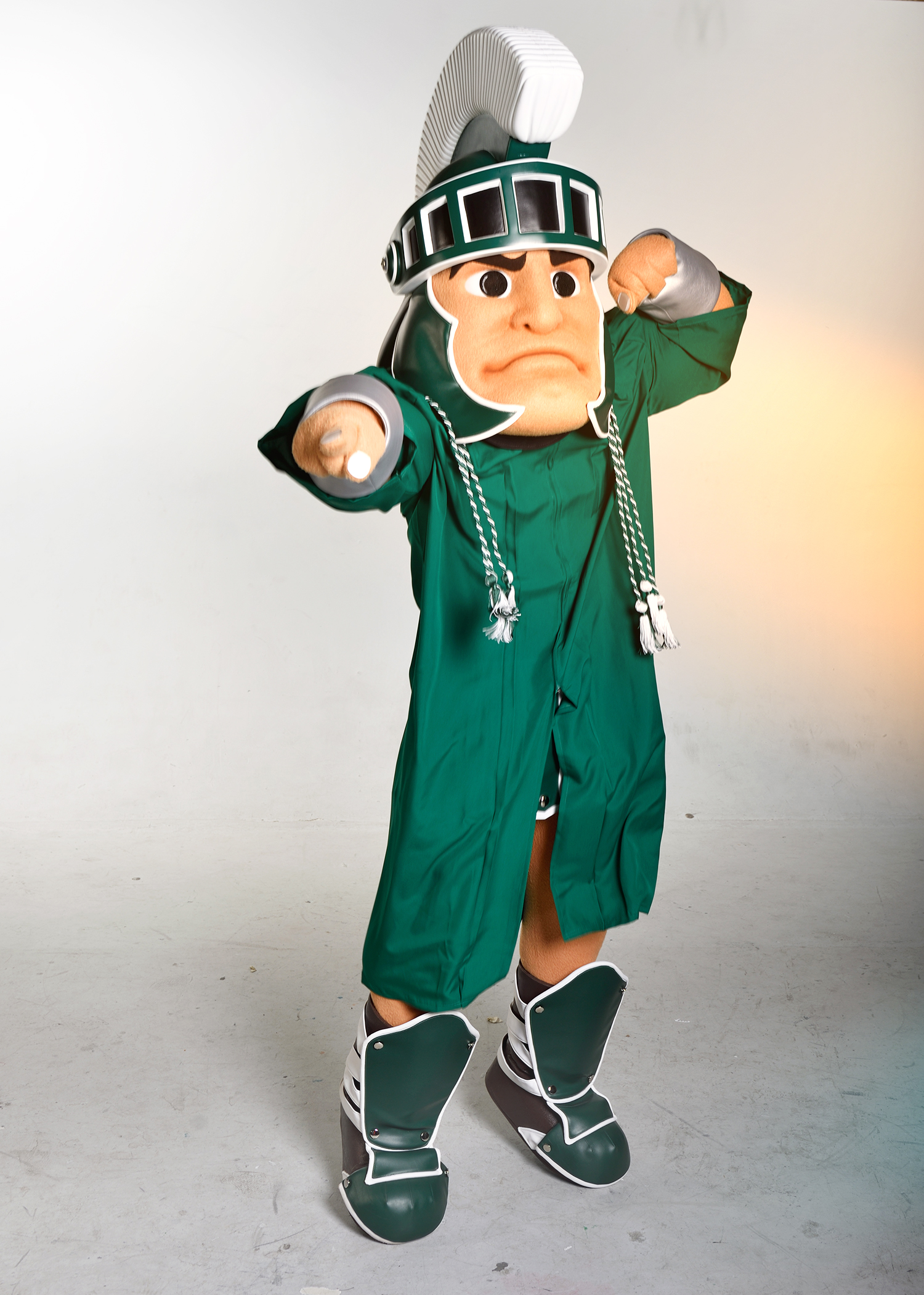 Sparty with his philanthropy cords