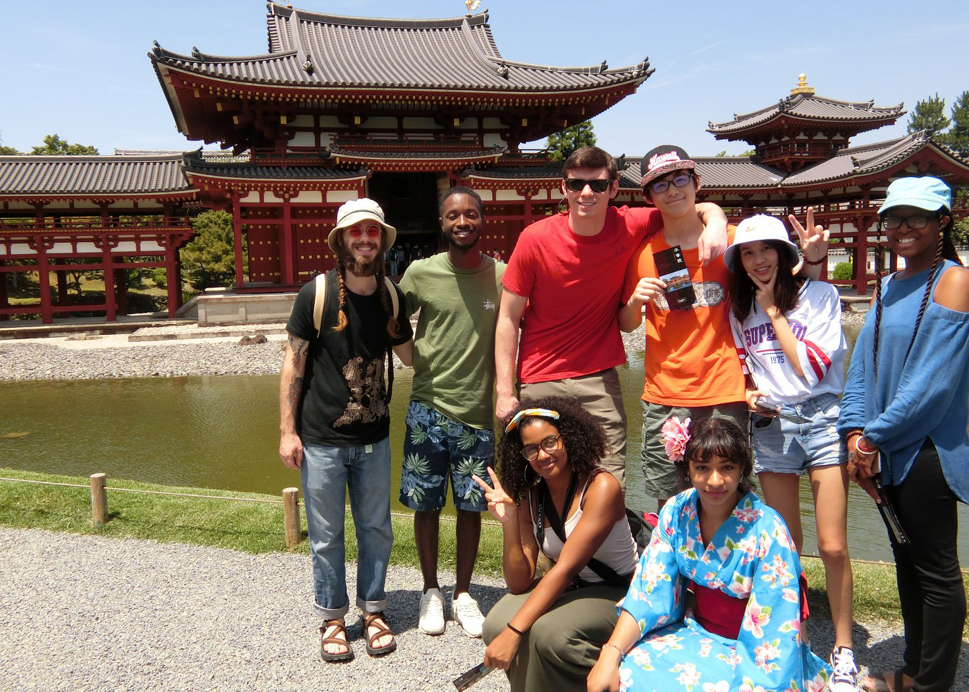 Students gathered on their trip to Japan