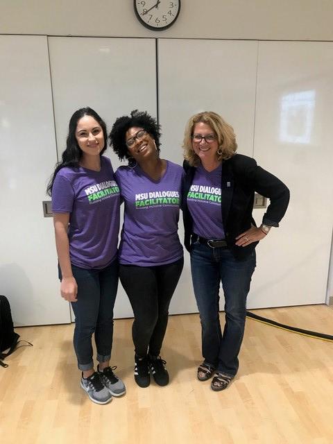 MSU Dialogues Leadership Team: Authrene Ashton, Adrianna Crossing, Donna Rich Kaplowitz