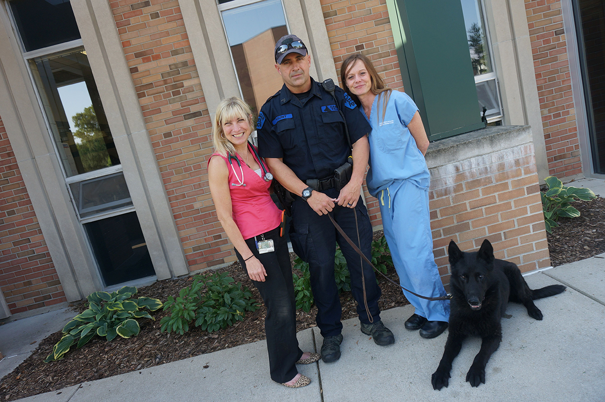 Retired dog with vet med staff and handler