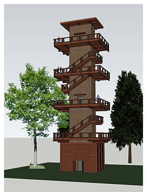 A rendering of the new tower at Hidden Lake Gardens