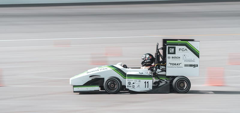 The team racing their car