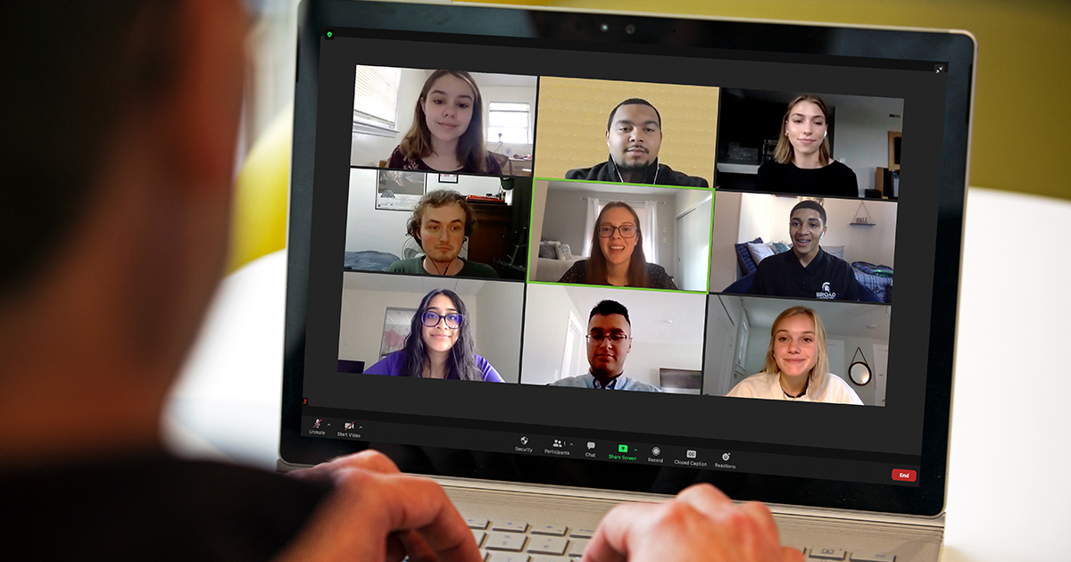 MSU Accounting students on a video chat.
