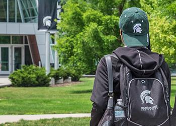 MSU student walking to class.
