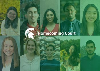 Collage of the ten MSU Homecoming Court members' headshots