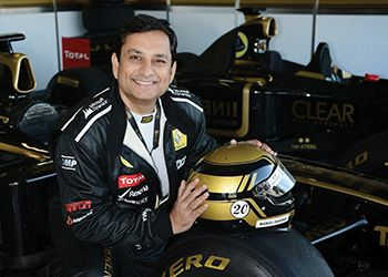 Manoj, MBA '91 (Eli Broad College of Business), at the race track