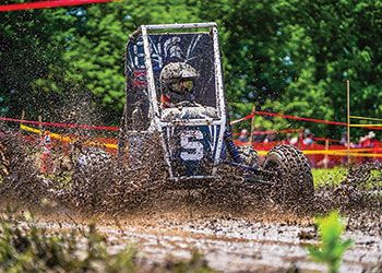 MSU's baja racing vehicle tackles a muddy racing course