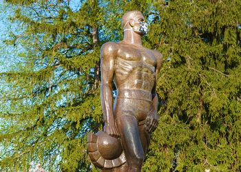 Sparty statue dons mask