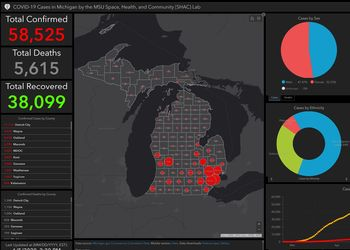 GIS dashboard showing COVID-19 cases in Michigan