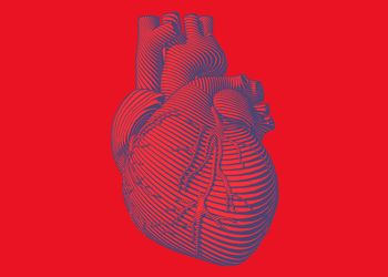 Illustrated heart on red background