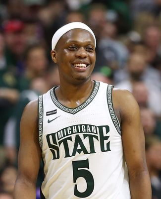 Cassius Winston smiling on the court
