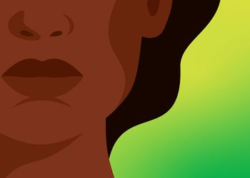 illustrated black woman on a gradient backdrop