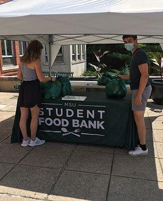 Students at food bank