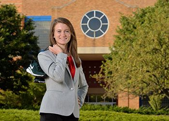claire kendell in front of the Engineering building