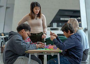 children doing art activities at the MSU Broad