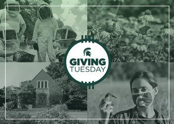 Images of campus with Giving Tuesday Button overlay