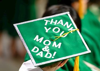 Graduate cap with text thanking parents