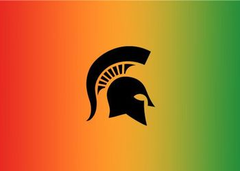 Spartan helmet over a gradient of red, orange, and green