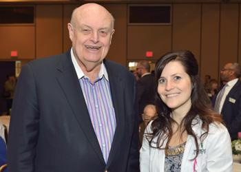 C.S. Mott Foundation President and CEO William White with MSU student Sara Muszynski