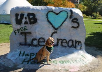 The Rock at MSU with dog