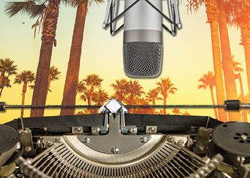 composite image of microphone, typewriter and palm trees