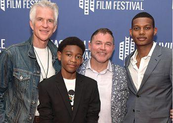 "MSU Alumnus Jay Deratany (center) with ""Foster Boy"" cast members Matthew Modine, Kystian Alexander Lyttle and Shane Paul McGhie."