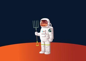 Illustrated Spartan astronaut on Mars