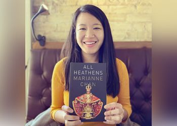 Marianne Chan holds All Heathens before a book signing in San Antonio