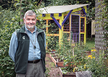 Photo of alumnus, plant biologist and MSU Herbarium supporter James Rodman at the Anna Smith Garden in Silverdale, Wash., where he volunteers.