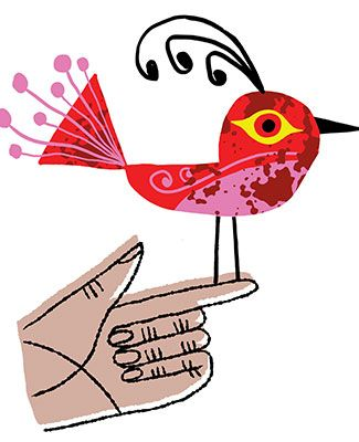 colorful artwork of a bird perched on a finger