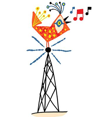 colorful artwork of a bird sitting atop a radio tower, singing with musical notes