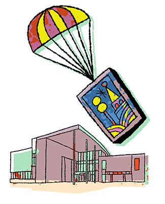 colorful artwork of a parachute dropping a painting in front of a drawing of the Business College at MSU