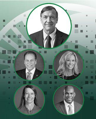 President Stanley, Tom Izzo, Suzy Merchant, Stacy Slobodnik-Stoll and Mel Tucker