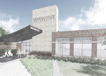 An artist's rendering of renovations to the School of Packaging building