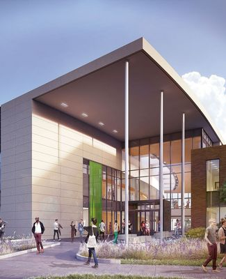 An architectural rendering of the new Broad College of Business pavilion