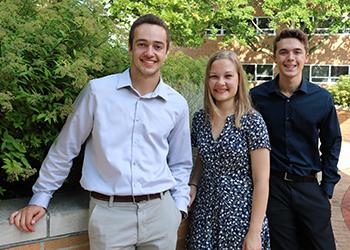 The newest Von Ehr Scholars are (from left) Matt Heilman, Katharine Walters, and Max Wiedemann.