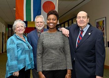 MSU faculty and staff donors with scholarship recipient
