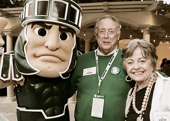 Sparty, Dick Bush and Patty McGuigan