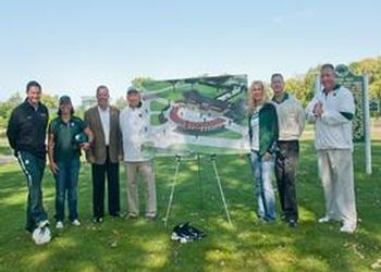 Gathered around an artist's rendering of Pentecost Plaza near the spot where construction will begin in Spring 2012 are (from left) Damon Rensing, men's soccer coach; Jacquie Joseph, women's softball coach; Mark Hollis, athletics director; Pete Lutz