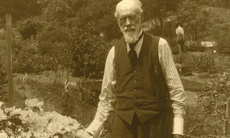 William J. Beal at his garden in East Lansing.