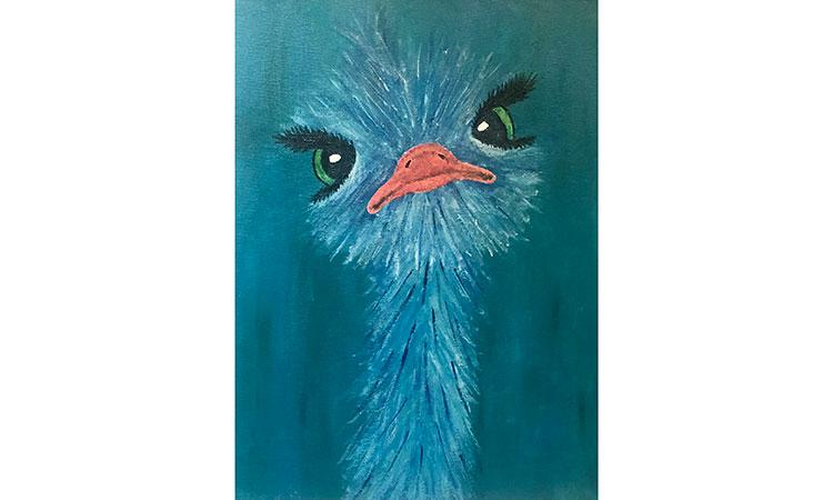 a painting of a blue bird