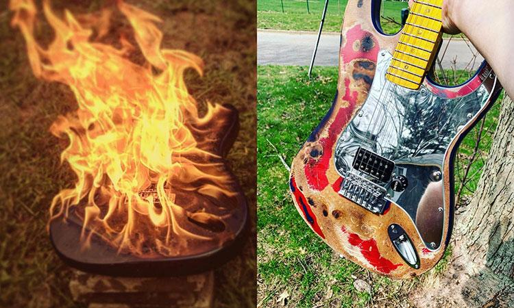 a guitar on fire, next to the same guitar rebuilt