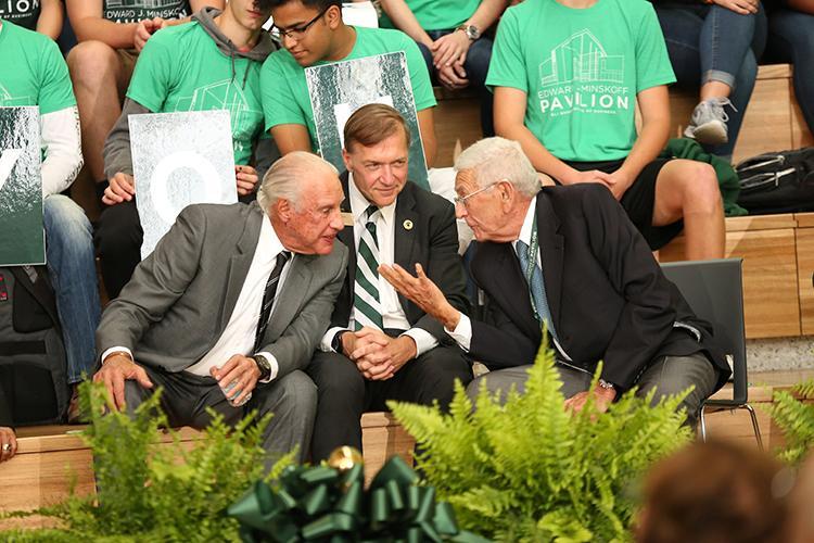 MSU alumni Eli Broad (left), Edward Minskoff (right) and President Samuel L. Stanley Jr., M.D (center)