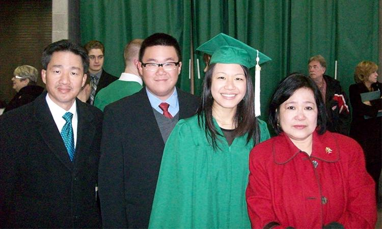 Marianne Chan with her parents and brother